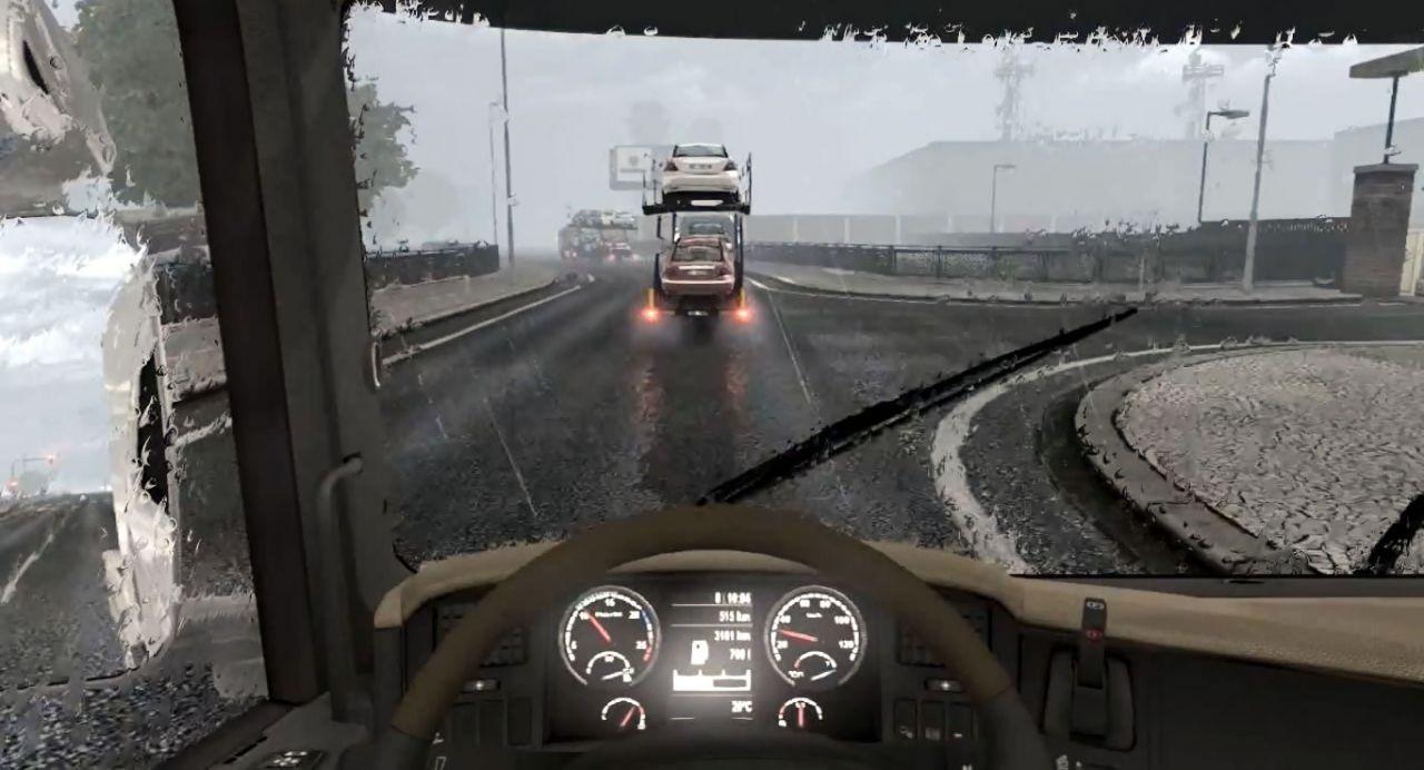 Dirigindo um Scania na chuva