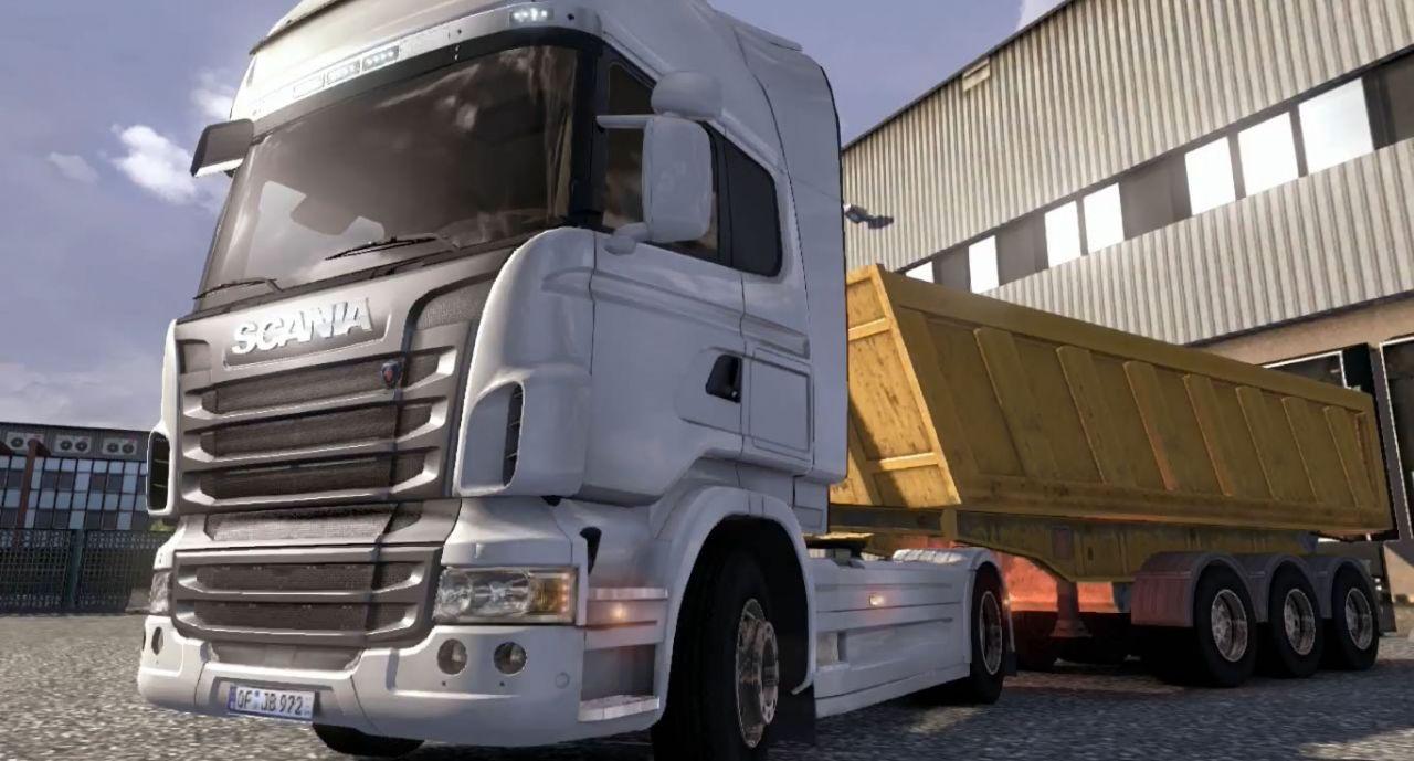 Scania saindo com o reboque - carga