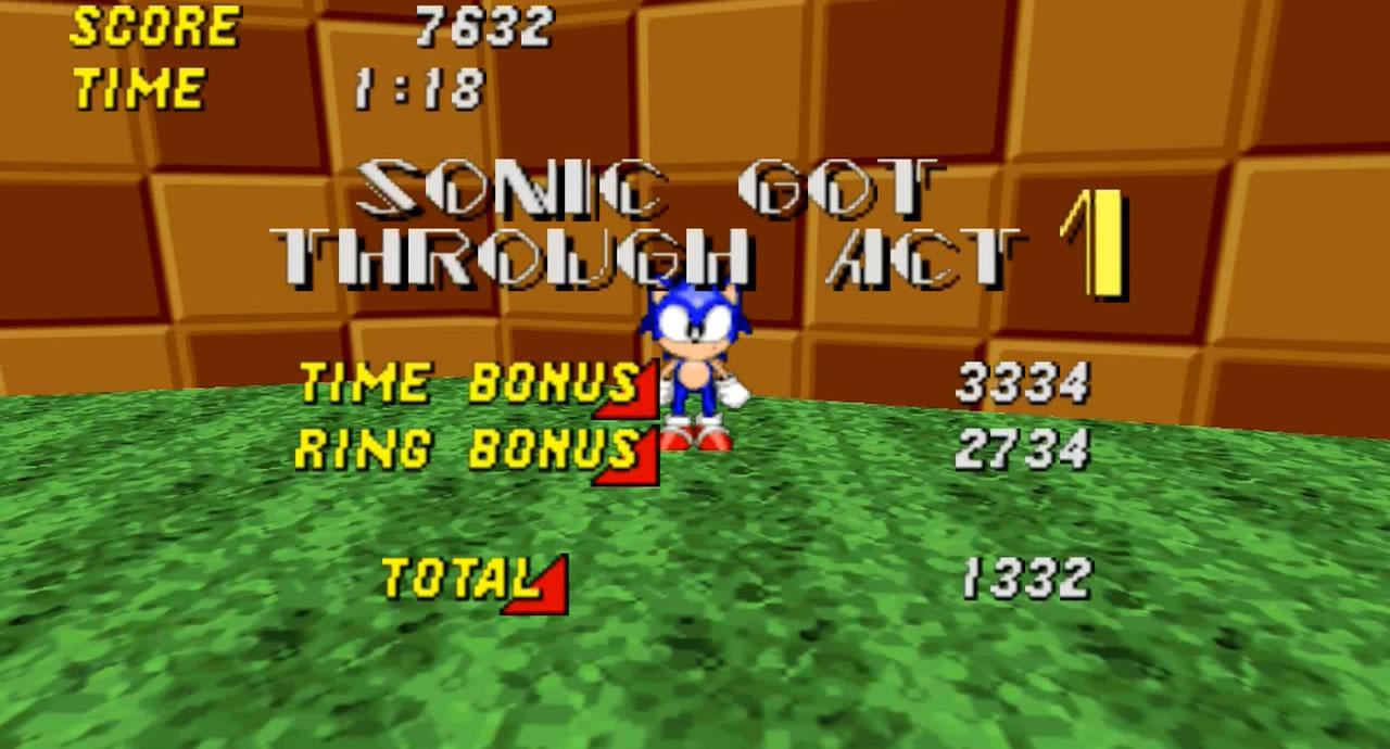 Sonic terminando primeira fase